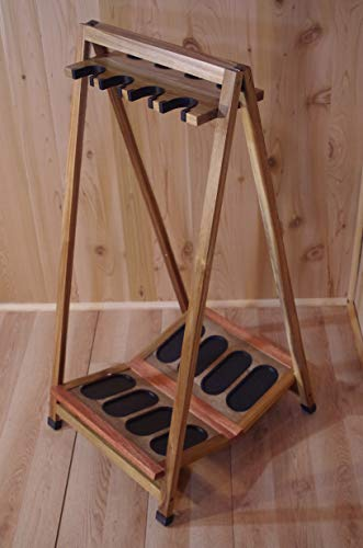 Old Cedar Outfitters Lacquered Real Hard Wood 8 Capacity Folding Rifle and Gun Rack