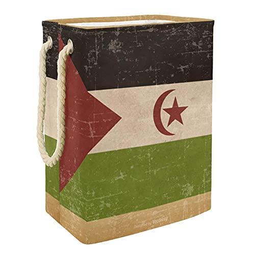 Wäschekorb, Motiv: alte Grunge-Flagge der Westsahara, faltbar, mit Handgriffen, abnehmbarer Aufbewahrungskorb, Badezimmer-Organizer