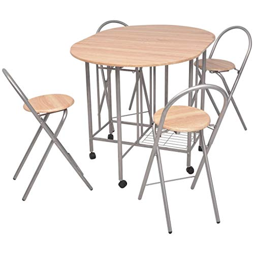 vidaXL Five Piece Folding Dining Table and Chairs Seats Dinner Furniture Set MDF