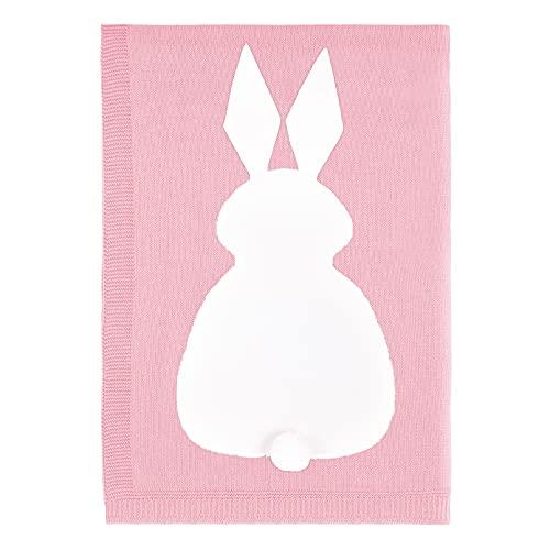 YOOFOSS Manta de Punto para Bebés de Algodón 75x100 cm Conejo Mantas Punto de Crochet Cobija Mantitas Confortable Cálida Recién Nacido niña niño Rosa