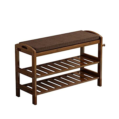 FOLA Zapatero de madera de bambú, estante de 2 niveles para la entrada de zapatos, organizador de cambio de zapatos (tamaño: 62 cm)