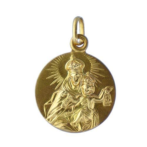 SACRE COEUR - Escapulario Sagrado Corazón y Vírgen del Carmen   Oro 18 Quilates   20 x 20 mm   Grabado por Las Dos Caras