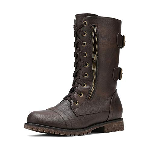 DREAM PAIRS Women's Terran Brown Mid Calf Built-in Wallet Pocket Lace up Military Combat Boots - 11 M US