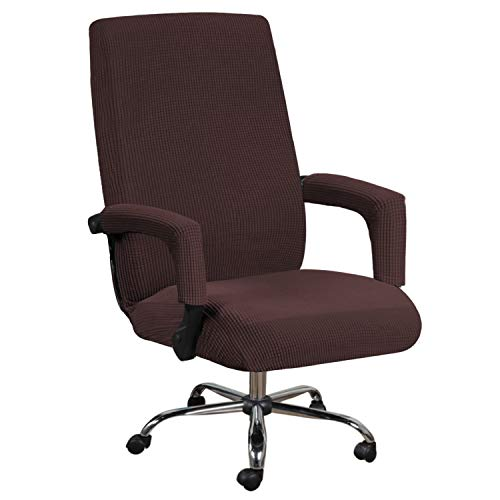 H.VERSAILTEX High Stretch Office Chair Cover, Jacquard Computer Office Chair Covers Jacquard Universal Boss Chair Covers Modern Simplism Style High Back Chair Slipcover (Large, Chocolate)
