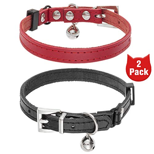 BINGPET Leather Cat Collar with Bells - 2 Pack Soft Adjustable Genuine Leather Kitten Collars, Come with Movable Rhinestone Crystal MOM Letters and Heart Decoration, Perfect for Kitties & Puppies