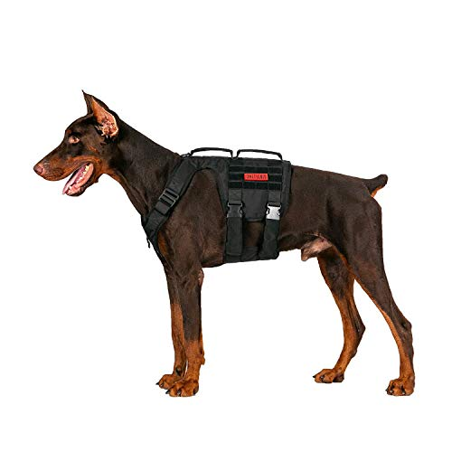 OneTigris Gladiator Support Dog Harness, Comfortable Non-Slide & No Pull Pet Lifting Rehabilitation Vest (Black, Medium)