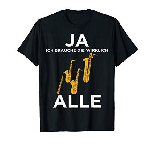 Lustiges Saxophonisten Sopran, Alt, Tenor, Bass-Saxophon T-Shirt
