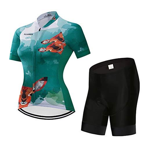 NNZZY Damen Fahrradtrikot Set Fahrrad Anzug Trikot Kurzarm + Radhose Mit 3D Sitzpolster Schnelltrocknend,A,S