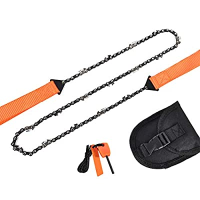36 Inch Pocket Chainsaw Emergency Outdoor Survival Gear Folding Chain Hand Saw with Fire Starter Carry Pouch for Camping, Hunting, Tree Cutting, Hiking, Backpacking (Orange handle 36inch-16teeth)