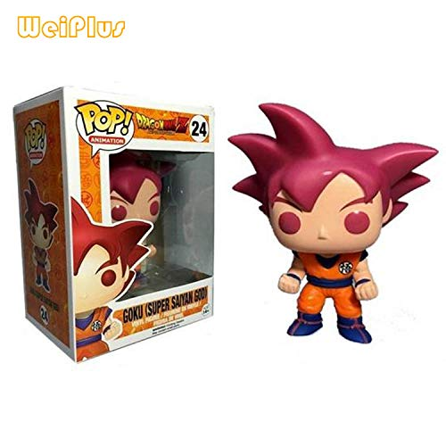 N / A Funko Pop Dragon Ball Z Blue Hair Vegeta Pink Black Goku Doll Doll Model Dragon Ball Super-High About 10cm_Goku_Red Hair_ 超 赛 神 # 24 Modelo Hecho A Mano Diseno Creativo