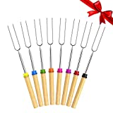 VIMILOLO Roasting Sticks, BBQ forksTelescoping Marshmallow Roasting Fork Sticks For Camping Campfire Hot Dog Stainless Steel &Wooden Handle 8 Set