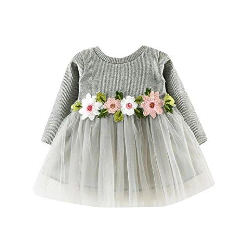 K-youth® Vestidos Bebé Niña Floral Tutú Princesa Vestidos de Manga Larga Otoño Invierno Ropa (Gris, 0-6 Meses)