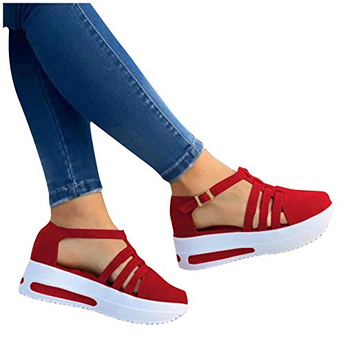 Aniywn Womens Summer Closed Toe Platform Sandal Shoes Casual Hollow Ankle Straps Shoes Slip On Soft Shoes Red