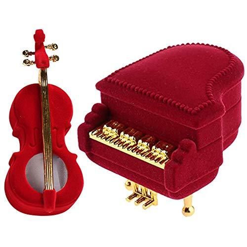 Caja para Joyas, NALCY Caja para anillos, 2 Piezas Caja de Regalo Joyas Pantalla Caja de Almacenamiento Caja diseño de Violín Y Piano Rojo