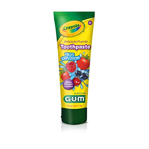 GUM - 10070942307120 Crayola Anti-Cavity Fluoride Kids Toothpaste, Fruit Explosion, 4.2 Ounce Tube (Pack of 6)