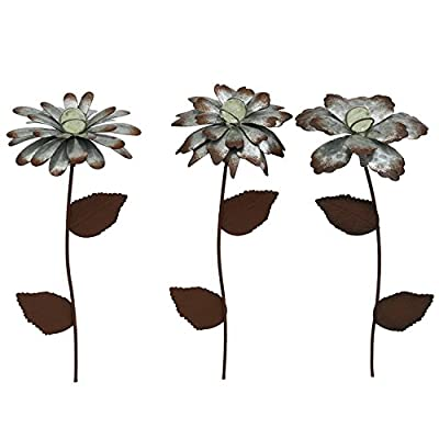 """CEDAR HOME Galvanized Floral Garden Stake Outdoor Glow in Dark Plant Pick Water Proof Metal Stick Art Ornament Decor for Lawn Yard Patio, 4""""W x 1.5""""D x 13.8""""H, 3 Set"""