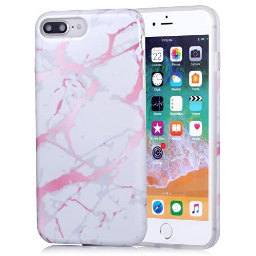 ZQ-Link iPhone 7 Plus Funda iPhone 8 Plus Funda marmol Negro Silicona Flexible Bumper Teléfono Caso para iPhone 7Plus/8Plus Blanco Oro Rosa Mármol Diseño