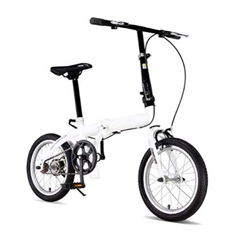 SHIN Bicicletta da Città Donna, Uomo Alluminio Bici Pieghevole Leggera 12 kg Unisex City Bike - Regolabile Manubrio E Sella Comoda,v-Brake,velocità Singola/Bianco