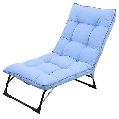 Slaapkamer inklapbare gewatteerde vloer stoel zonnebed opvouwbare ligstoel rugleuning multi-bereik instelling compleet samengestelde katoenen doek enkele sofa inklapbaar draagbaar (kleur: grijs) blauw