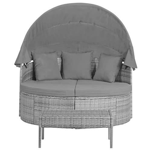vidaXL Garten Lounge Set mit Polstern Kissen Sonnendach 3-TLG. Sonneninsel Sonnenliege Gartenliege Liege Sitzgarnitur Gartenmöbel Poly Rattan Grau