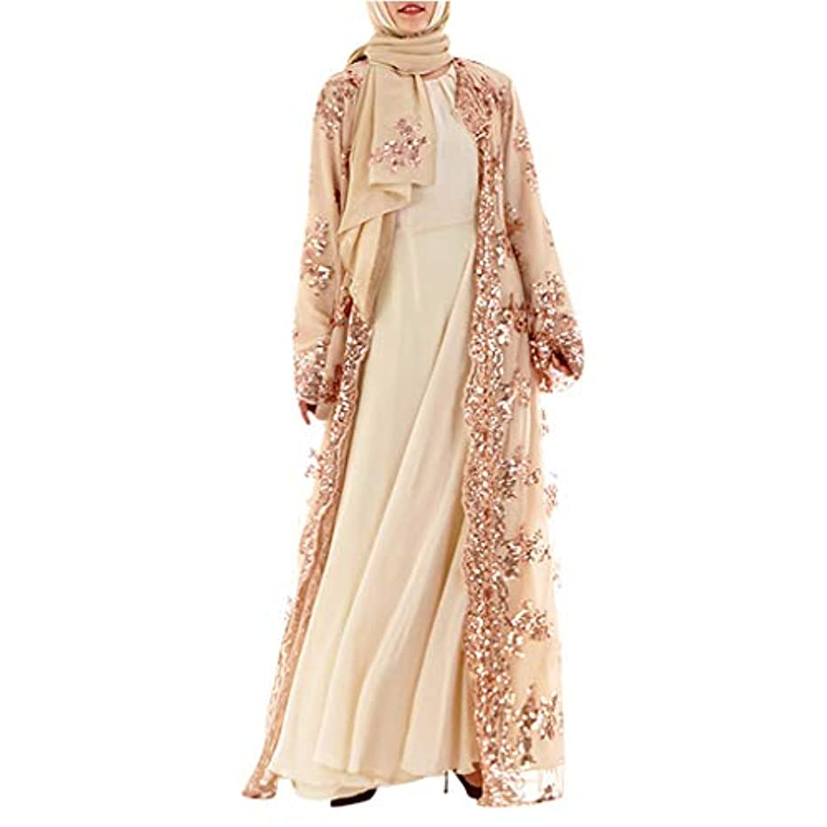 Women Muslin Lace Maxi Dress, Long Sleeve Sequin Cardigan Loose Kaftan Abaya Open Kimono Long Robes