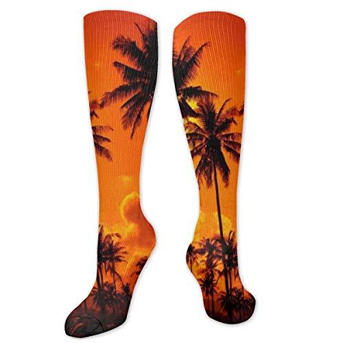 Calcetines de poliéster y algodón por encima de la rodilla, estilo retro, unisex, para muslo, cosplay, botas largas, para deportes, gimnasio, yoga, coco, arena y playa, atardecer
