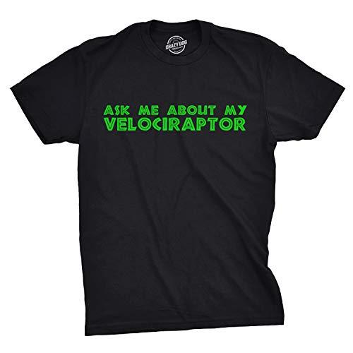 Ask Me About My Raptor Flipover T-Shirt - Funny Dinosaur Flip Up T-Shirt (Black) - L