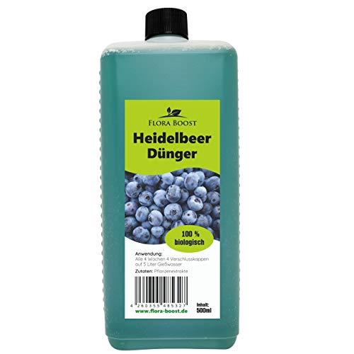 Flora Boost Heidelbeer Dünger flüssig - Heidelbeer Pflanzen düngen wie die Profis - Für bis zu 100 Liter Gießwasser - Blaubeer Dünger (500 ml)