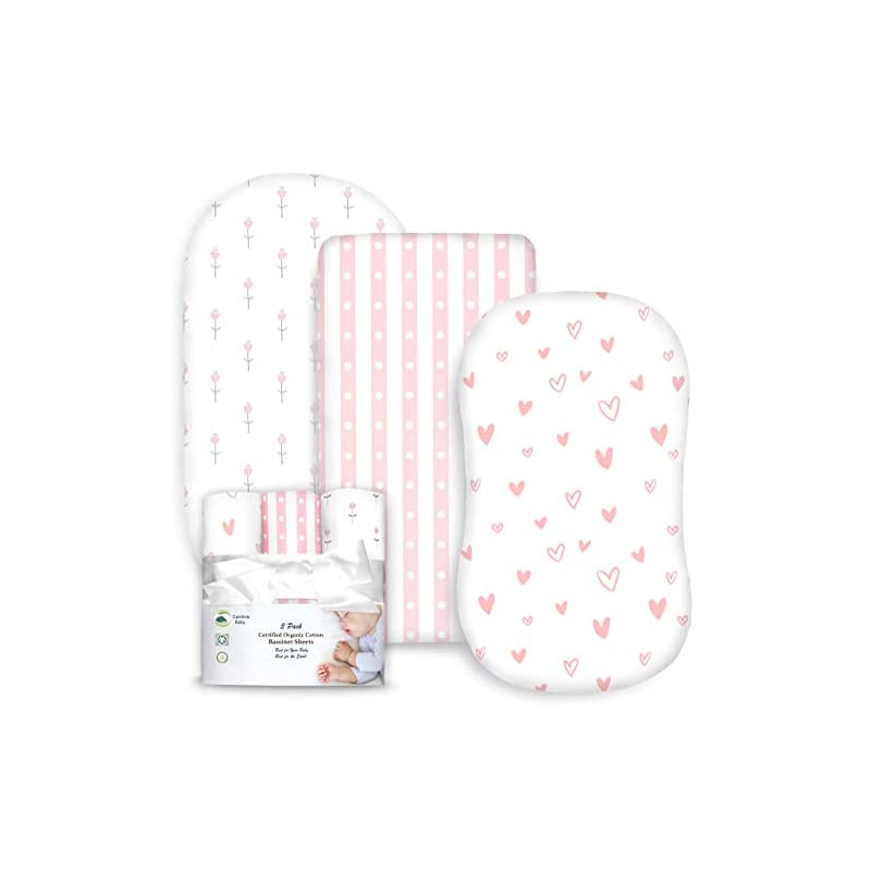 crib bedding and baby bedding cambria baby 100% organic cotton jersey fitted bassinet sheets. adapts to oval, hourglass & rectangle shaped bassinet pads. pink/white tulips, hearts & stripes patterns. 3 pack
