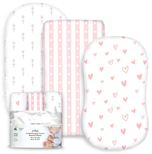 Cambria Baby 100% Organic Cotton Jersey Fitted Bassinet Sheets. Adapts to Oval, Hourglass & Rectangle Shaped Bassinet Pads. Pink/White Tulips, Hearts & Stripes Patterns. 3 Pack