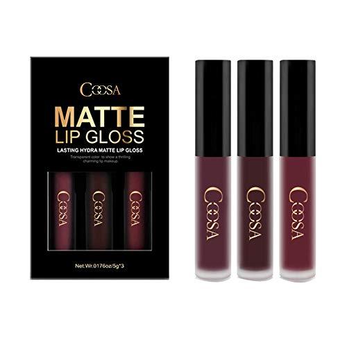 Coosa 3PCS de 3 colores Madly MATTE Lápiz labial Taza antiadherente Brillo de labios impermeable-Set A
