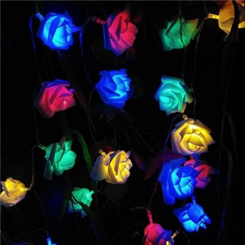 Fashion Fairy Lights 2M 20 Roses Flower Garland LED Holiday String Lights Valentine Birthday Wedding Party Decoration Battery Lights Coffee Shop (Color : RGB)