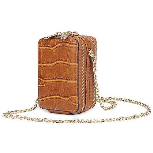 Aolaso - Mini sac à bandoulière en cuir véritable avec miroir, rouge à lèvres et cartes de crédit - Pour femme - Marron clair