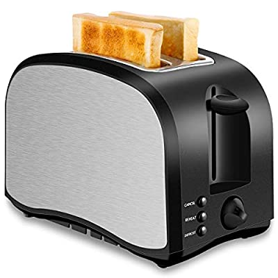 CUSIBOX Toaster 2 Slice, Compact Two Slice Toasters With 6 Browning Settings Quickly Toasts Bread Defrost Reheat Cancel Button Removable Crumb Tray