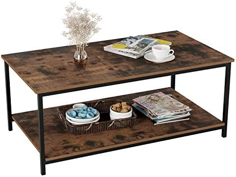 Best Homfa Industrial Coffee Table for Living Room, 2-Tier Tea Table with Storage Shelf TV Stand Side End