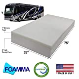 """Foamma 4"""" x 28"""" x 75"""" Camper/RV Travel Memory Foam Bunk Mattress Replacement, Made in USA, Comfortable, Travel Trailer, CertiPUR-US Certified, Cover Not Included"""