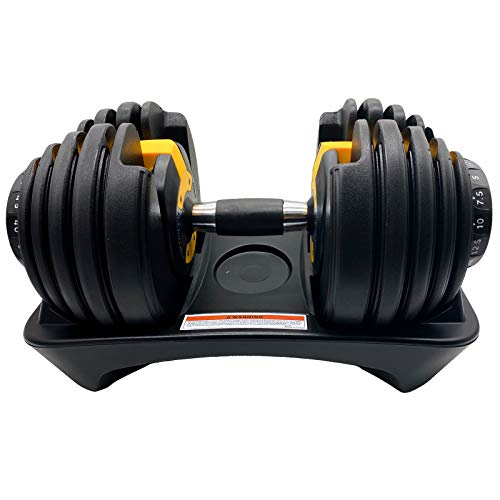 D.Y.A Adjustable Dumbbells Weights Dumbbells Set Strength Training 52.5lbs Fitness Equipment Dial System Dumbbell with Handle and Weight Plate for Men Women Bodybuilding Workout Home Gym 1PCS