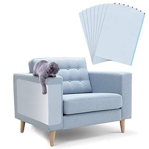 Queta 8 Stück Kratzschutz für Katzenmöbel, Selbstklebend Kratzschutz Schutz Ihrer Polstermöbel, Möbel-Kratzschutz Schraubenfrei, Sofa Möbelschutz Transparent für Katzen, 12 x 17''