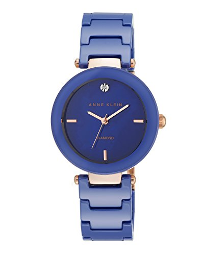 Anne Klein Women's AK/1018RGCB Diamond-Accented Rose Gold-Tone and Blue Ceramic Bracelet Watch