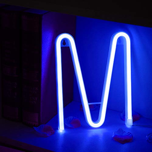 Light Up Letters Neon Signs, blue Marquee Letter Lights Wall Decor for Christmas, Birthday Party, Bar Valentine's Day Words-blue Letter M