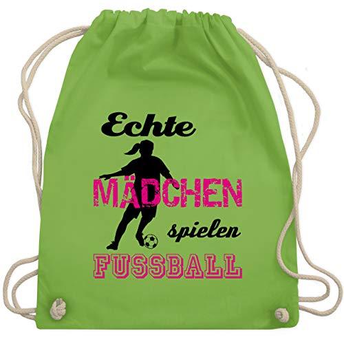 Shirtracer Fußball - Echte Mädchen spielen Fußball - Schwarz - Unisize - Hellgrün - rucksack für fußball - WM110 - Turnbeutel und Stoffbeutel aus Baumwolle