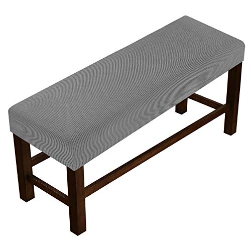 Bench Covers High Stretch Bench Slipcover for Dining Room Bench Seat Cushion Covers Skid Resistant Furniture Protector with Elastic Bottom (Medium - Dove)