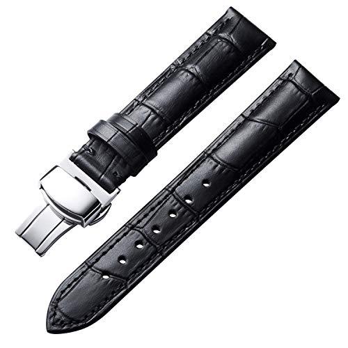 WYYHYPY Reloj de cuero de piel de becerro genuino Correa de bandas para hombres para hombres con hebilla de mariposa 17mm negro correa de reloj