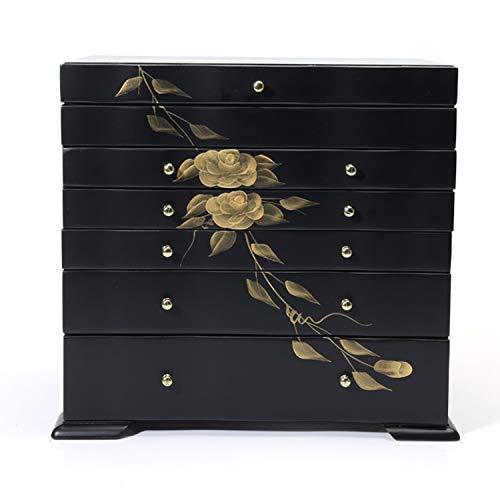 YANGLAN massief houten sieradendoos, Chinese stijl multi-layer lade juwelendoosje/opbergdoos, retro multifunctionele sieraden opbergdoos