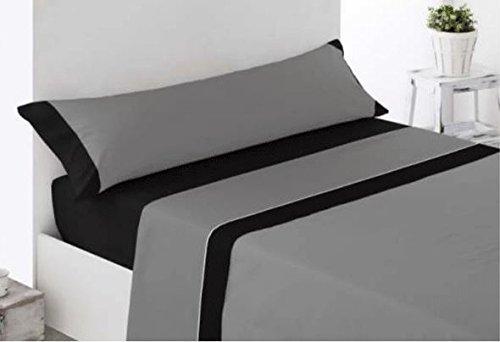 Andatex Juego de Sábana - 135cm - Gris/Negro - Bicolor - Tacto Seda - Microfibra