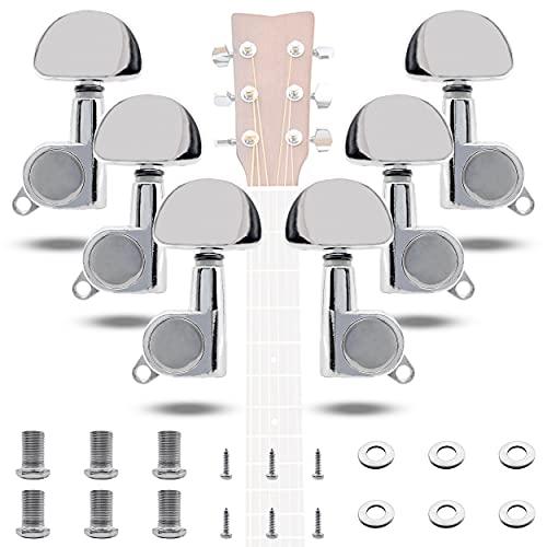 INHEMING 6PCS 3L3R Clavijas de Afinación para Guitarra,Clavijero de Repuesto, Sintonizadores de Cabeza de Máquina para Guitarra Eléctrica o Acústica