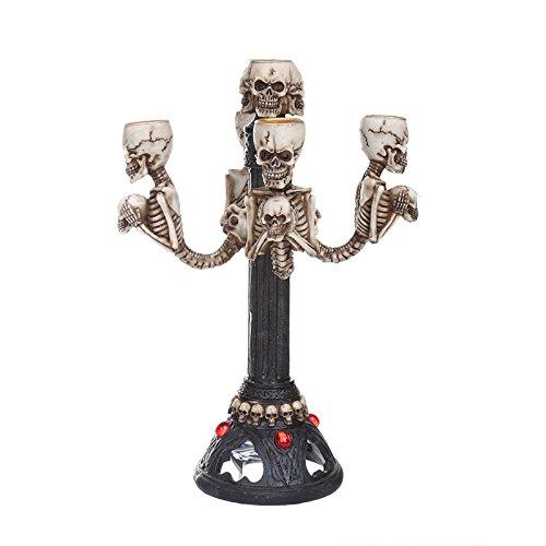 VOANZO Sculture Gotico Halloween resina teschio candela bastone statua Halloween horror teschio ornamento decorazione casa