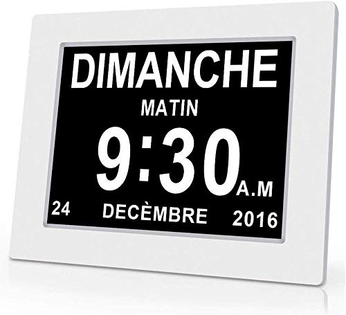 Fengz Digitale kalender van 8 inch (8 inch), klok voor senioren, dementie, slecht gelezen, kinderen slechtzienden en Alzheimer-patiënten