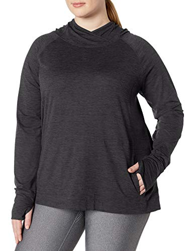Amazon Essentials Plus Size Brushed Tech Stretch Popover Hood Fashion-Hoodies, Negro (Black Space Dye), 2X