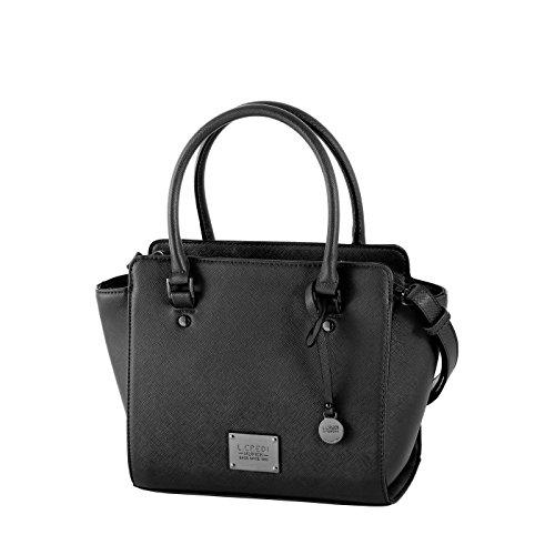 L.CREDI Kurzgrifftasche 309-5255, Damen Handtasche aus edlem Kunstleder, elegante Damen Tasche (33x23x12cm) (schwarz)